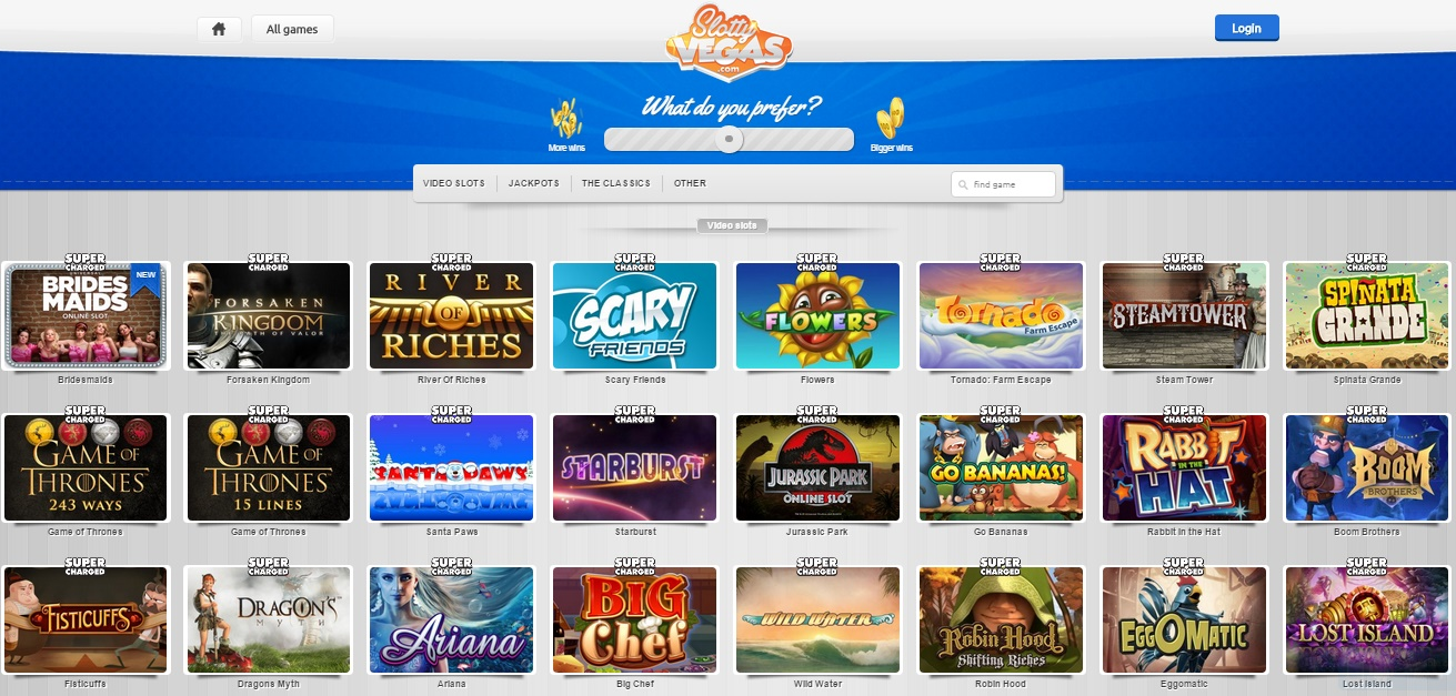 slotty vegas casino games selection